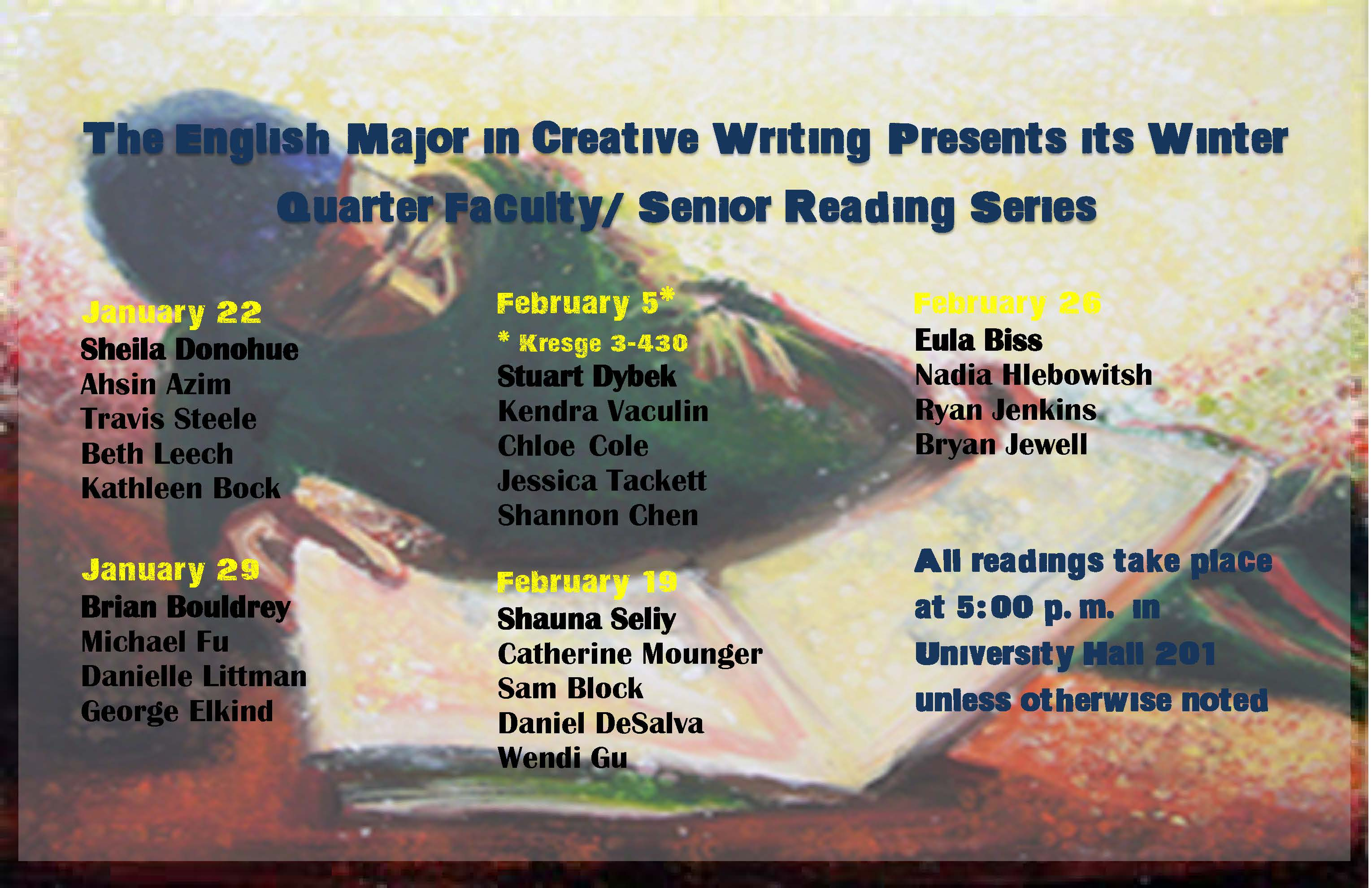 2013 Senior Reading Series listing