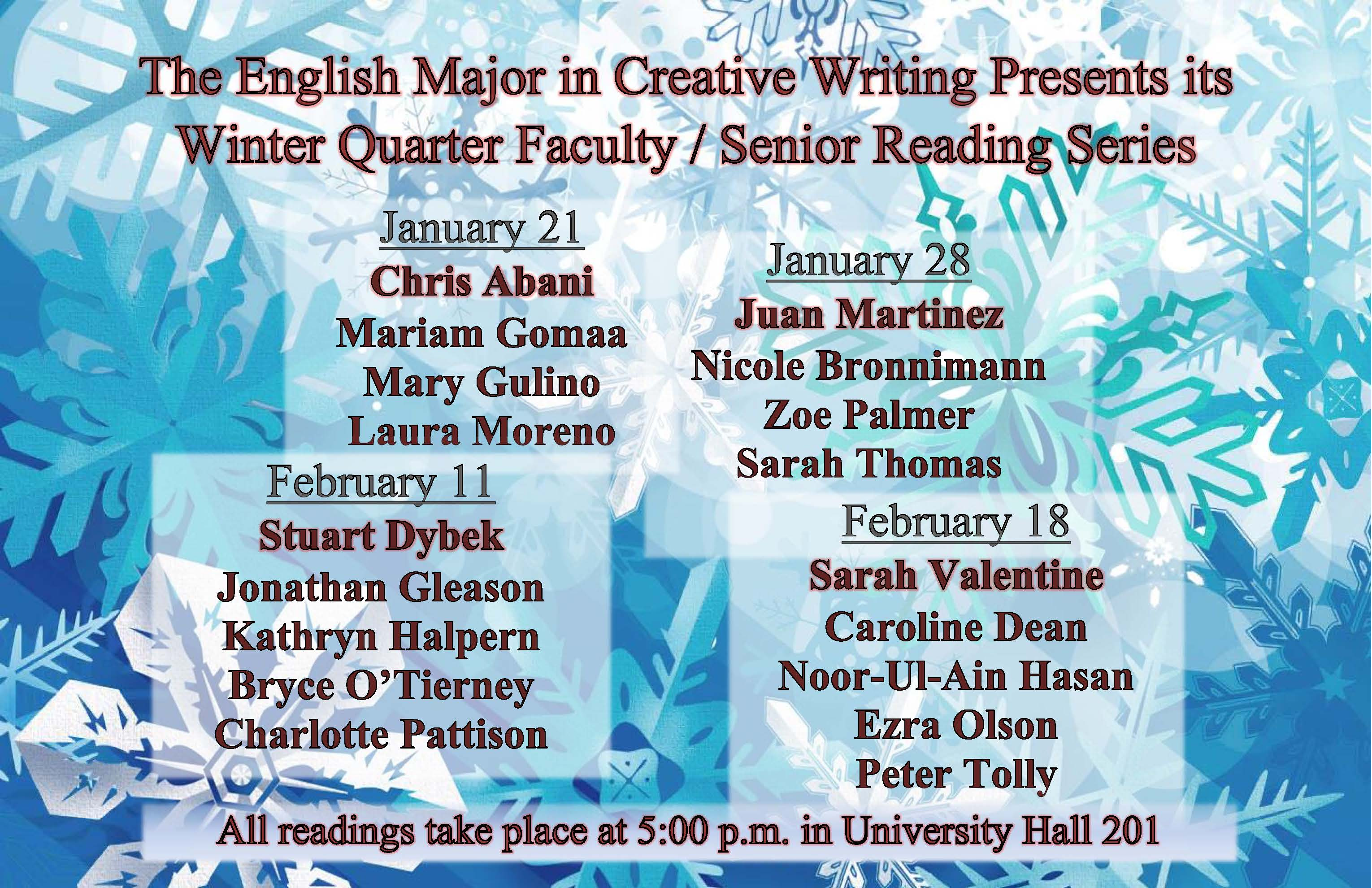 2014 Senior Reading Series listing