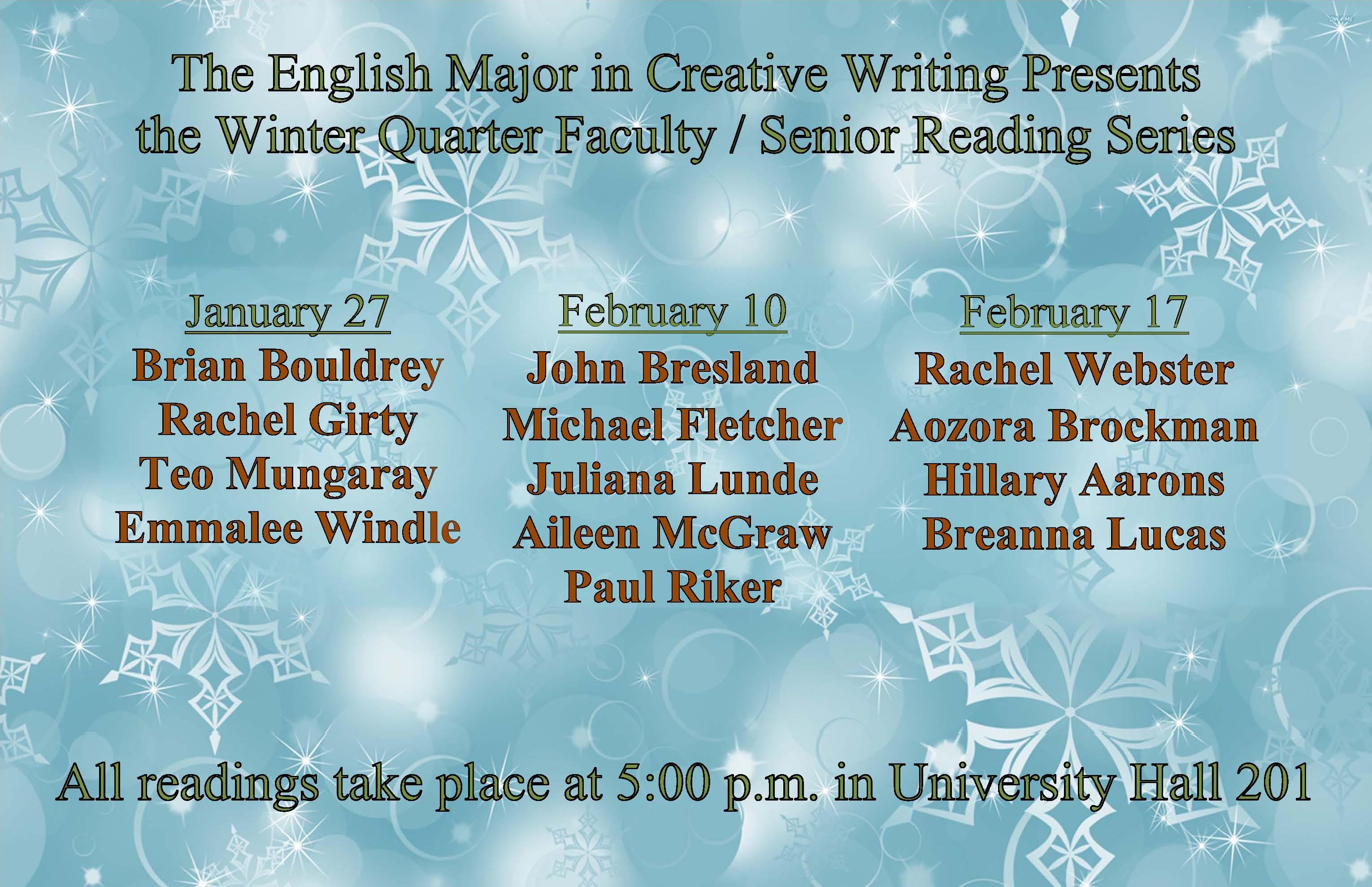 2015 Senior Reading Series listing